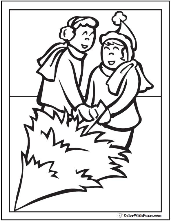 Cutting the Christmas tree coloring sheet