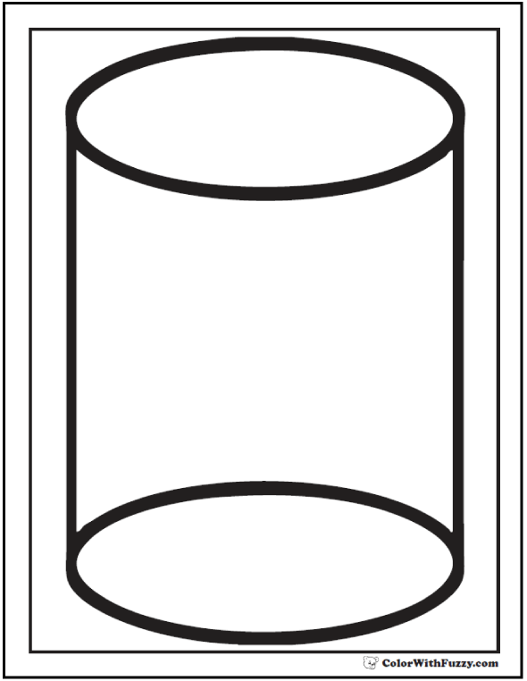Cylinder Shape Coloring Sheet