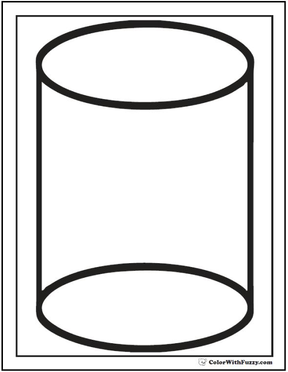 Cylinder Shape Coloring Sheet