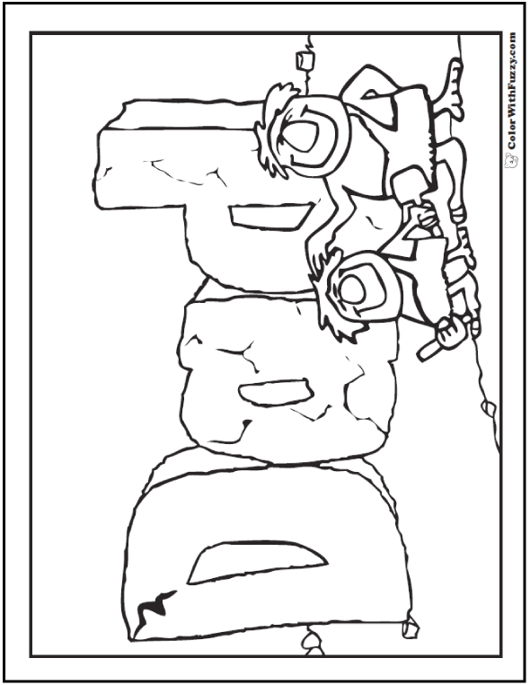Dad Fathers Day Coloring Pages - Stone age father and son. Great Father's Day or birthday for masons and builders!