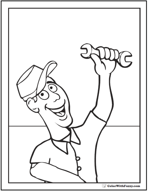 Dad Father's Day coloring pictures: He's a Jack of all Trades!  #FathersDayColoringPages and #KidsColoringPages at ColorWithFuzzy.com