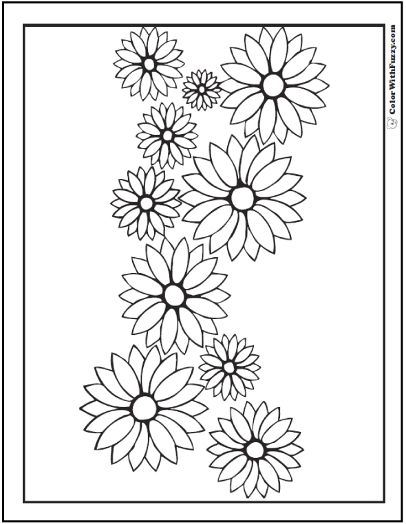 Garland of Daisies Coloring