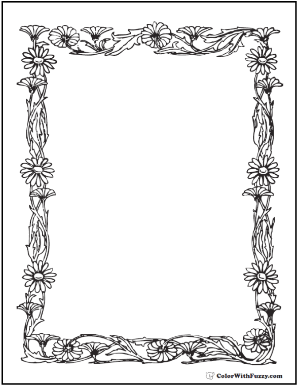 Daisy Border Coloring Page