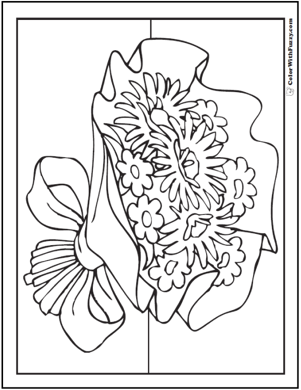 Asters and Daisies Bouquet Coloring Page