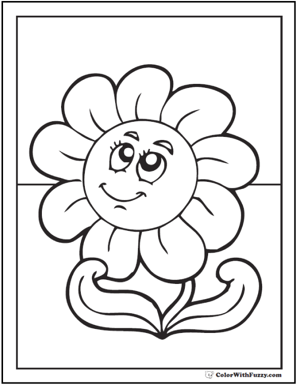 Spring Butterfly And Three Spring Flower Coloring Page