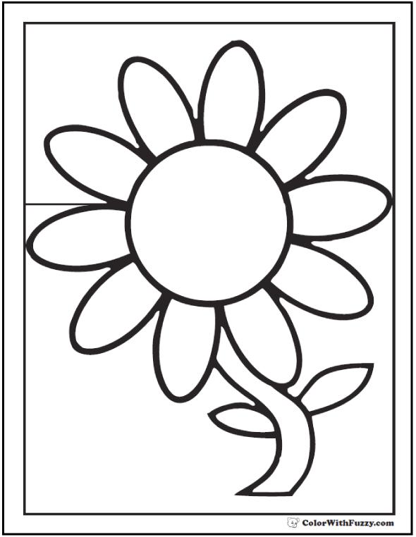 Preschool Daisy Coloring Page