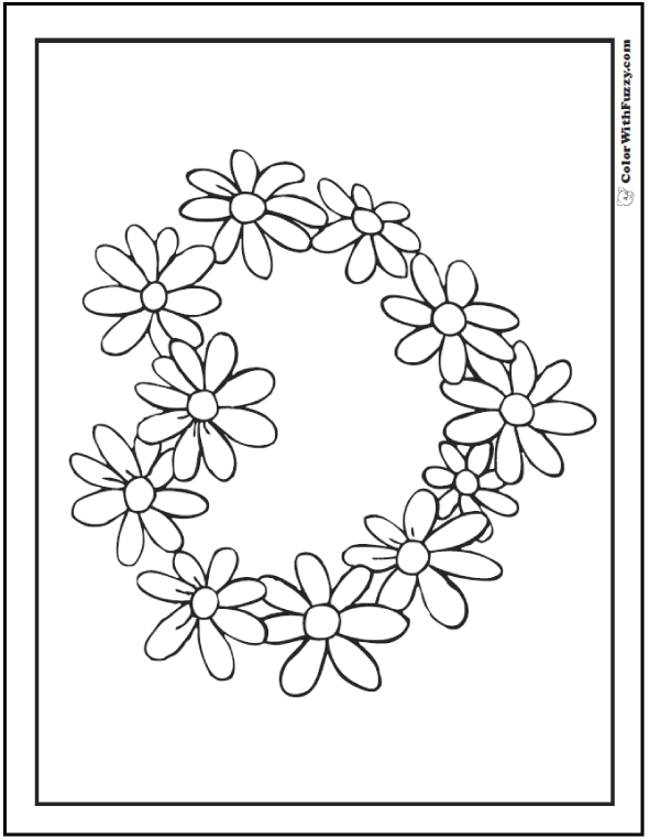 Heart Daisy Wreath Coloring Page