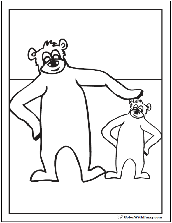 Bear and cub coloring picture.