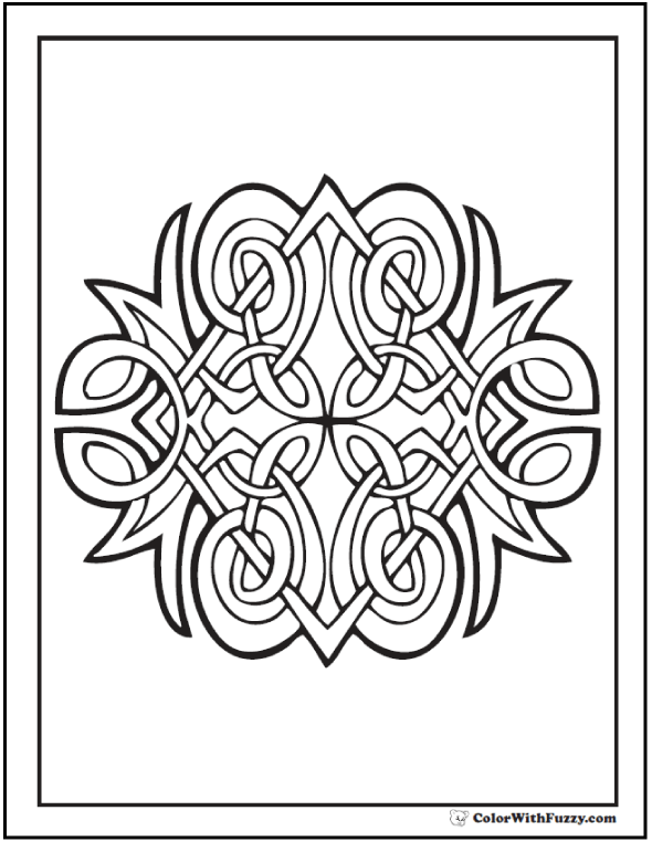 Fuzzy's Celtic Coloring Pages: Diamond Celtic Coloring Page