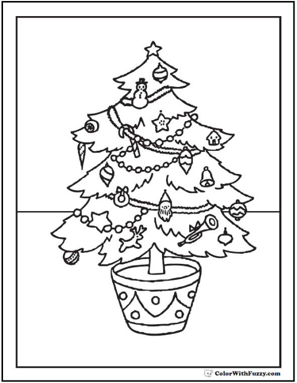 Different Christmas Tree Coloring: planter pot, stars, garland, decorations.