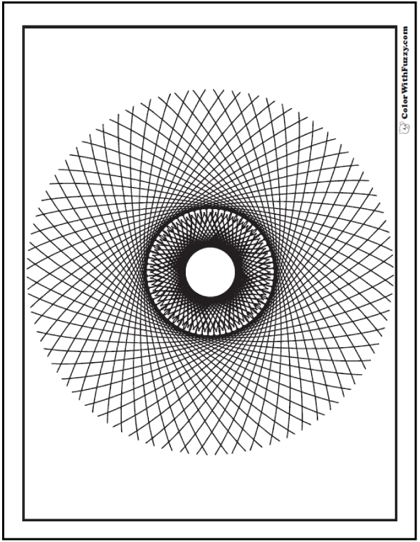 Difficult Geometric Design Coloring Pages: Swirls of tangent lines optical illusion.