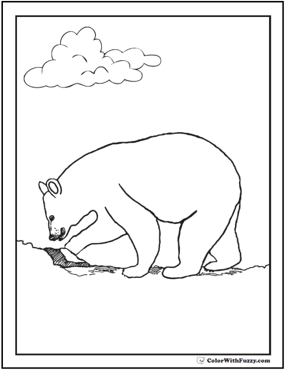 Digging Bear Coloring Sheet