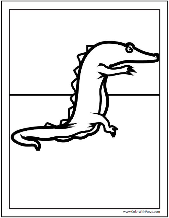 Dinosaur alligator coloring page - easy for preschoolers.