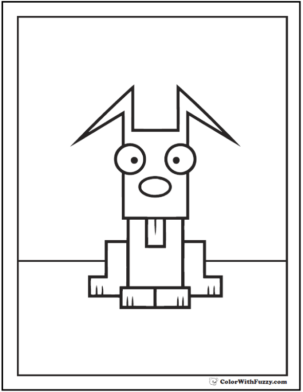 Square dog coloring page.