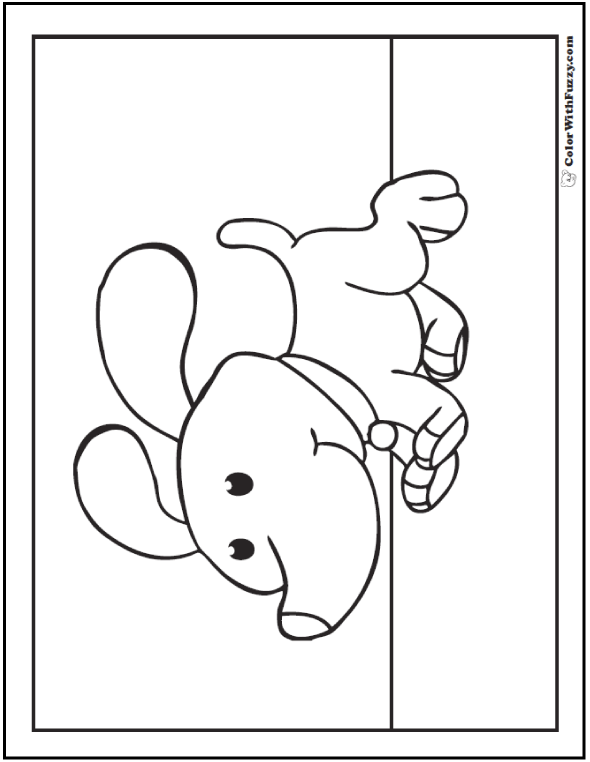 Happy dog coloring page.