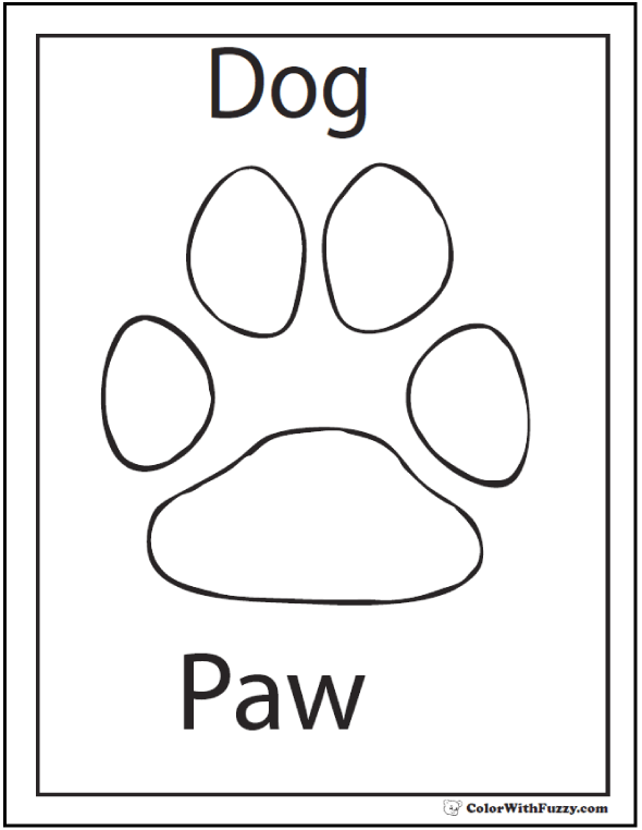 Dog paw print coloring page.