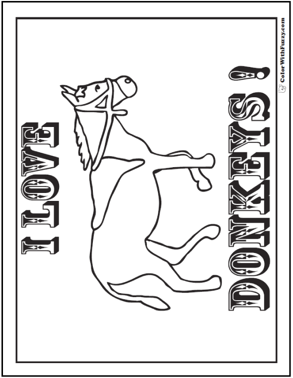 I Love Donkeys coloring page.