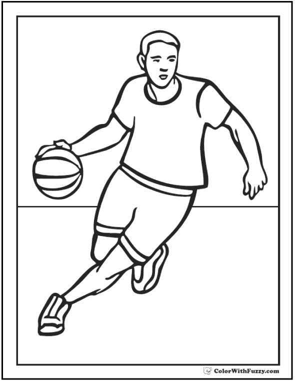 Dribble Basketball Coloring Page: Bounce the ball down the court.