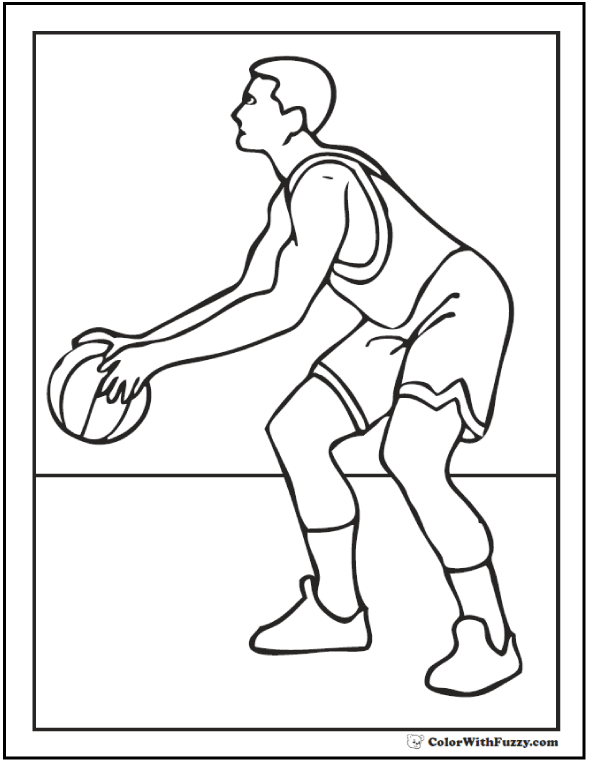 Basketball Player Dribble Coloring Page
