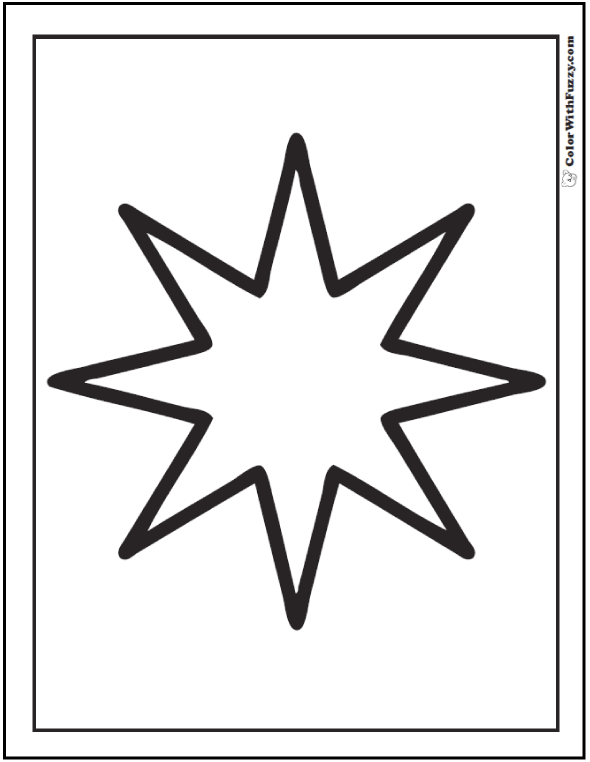 Eight Point Star Coloring Page