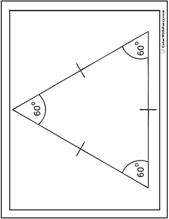 60 + 60 + 60 = 180 Angles and Sides Equilateral Triangle Coloring Sheet
