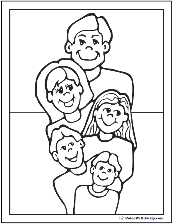Fun family Father's Day coloring page: Mom, Dad, and three children. Happy Father's Day!