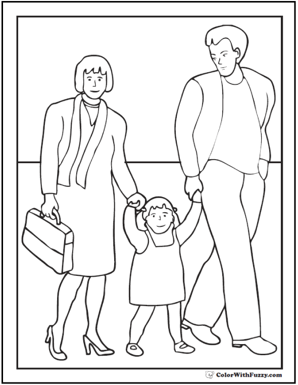 Family Father's Day Coloring Pages: mother, father, daughter  #FathersDayColoringPages and #KidsColoringPages at ColorWithFuzzy.com