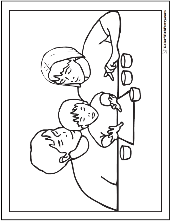 Finger painting with family Father's Day coloring page.  #FathersDayColoringPages and #KidsColoringPages at ColorWithFuzzy.com