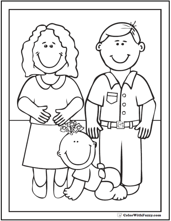 Cute Family And Baby Coloring Sheet