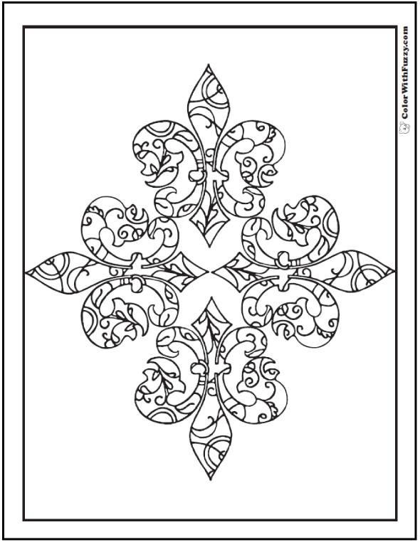 Fancy Fleur De Lys Adult Coloring Picture