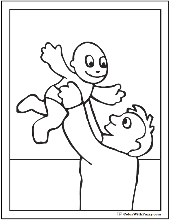 Father and son coloring page: Dad swinging baby high in the air!