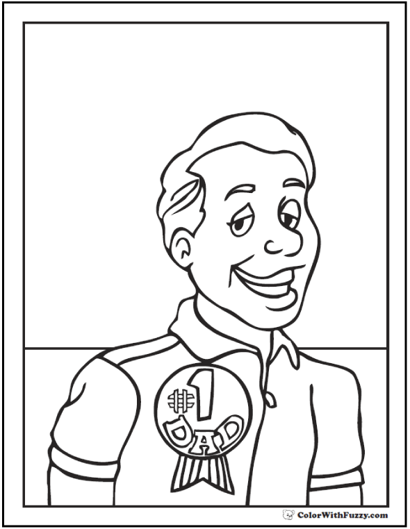 #1 Dad Father's Day coloring page: Dad with Number One Award  #FathersDayColoringPages and #KidsColoringPages at ColorWithFuzzy.com