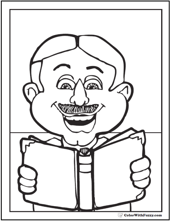 Father's Day coloring book pages: Dad loves to read!  #FathersDayColoringPages and #KidsColoringPages at ColorWithFuzzy.com