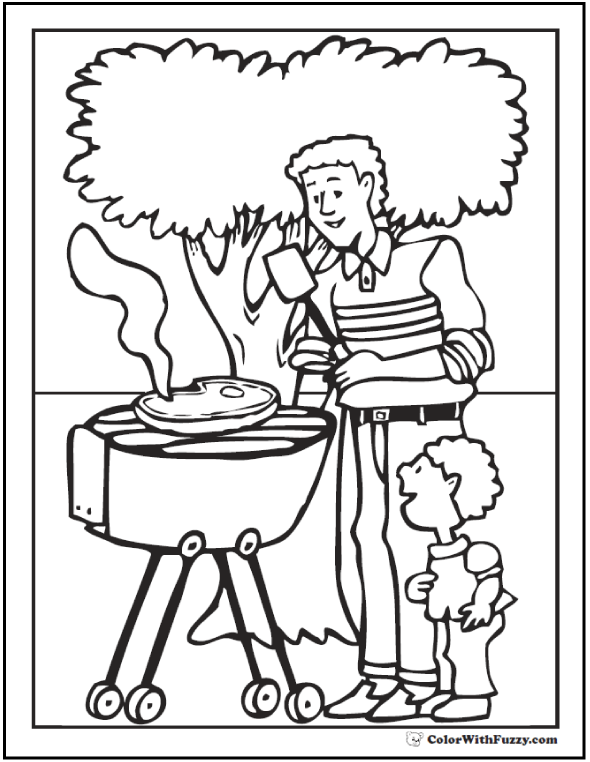 Fathers Day Coloring Pages for Dad and Grandpa #FathersDayColoringPages and #KidsColoringPages at ColorWithFuzzy.com