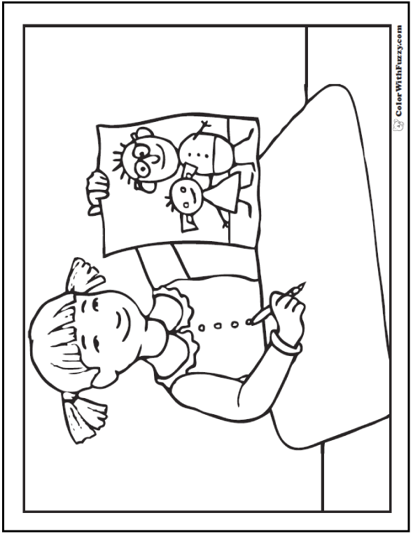 Father's Day Coloring Pictures: Little girl's drawing for Dad.  #FathersDayColoringPages and #KidsColoringPages at ColorWithFuzzy.com