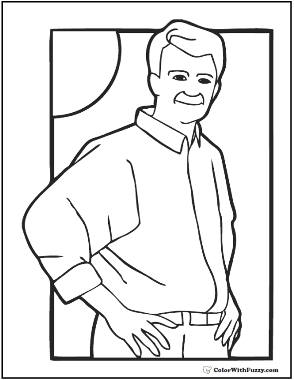 Father's Day Coloring: Dad on a sunny afternoon!  #FathersDayColoringPages and #KidsColoringPages at ColorWithFuzzy.com