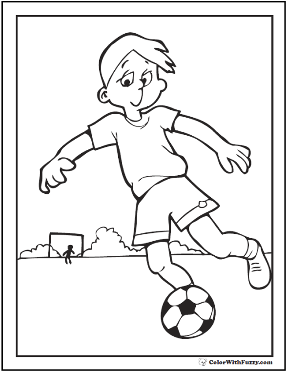 Center Forward Field Soccer Coloring