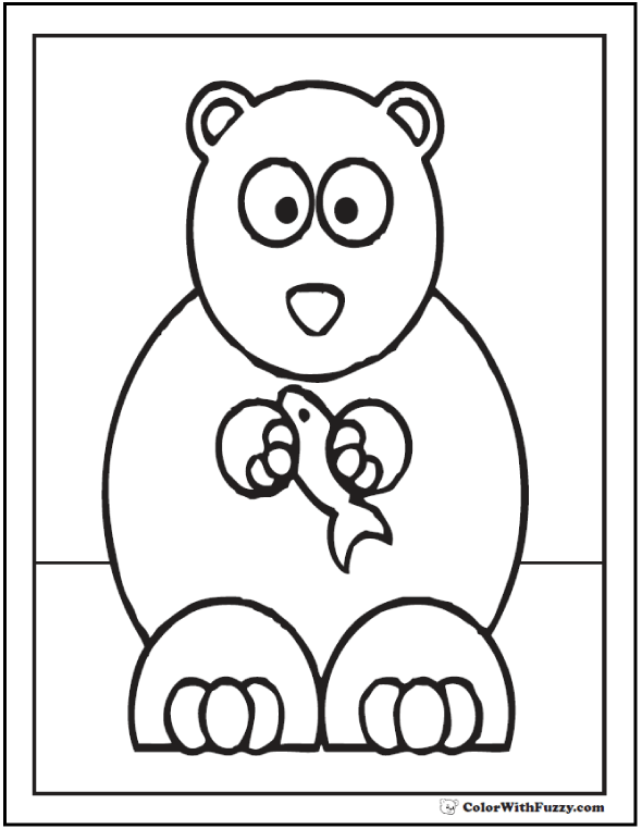 Bear Fishing Coloring Page