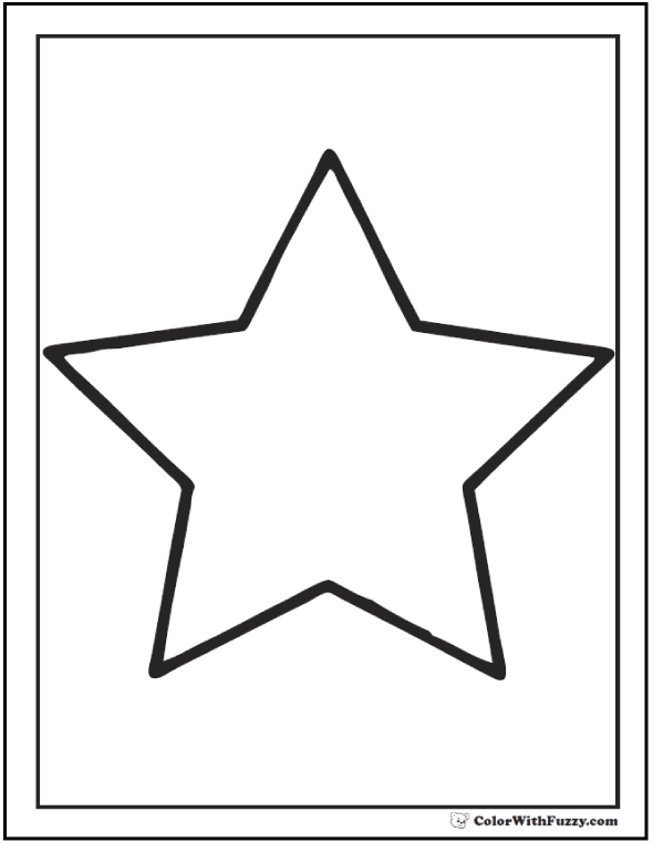 5 Point Star Coloring Page Outline