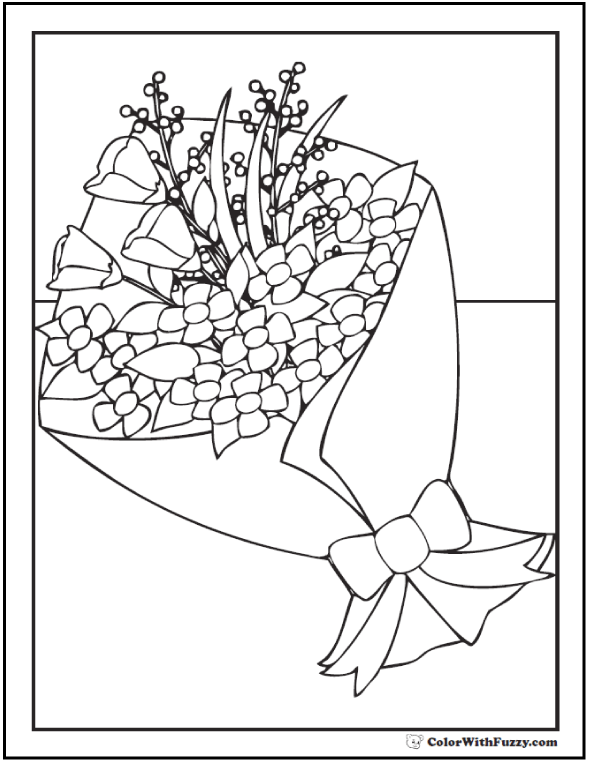 Floral Bouquet Coloring Sheet