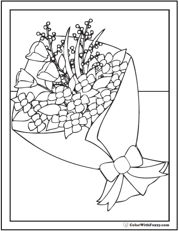 Floral Bouquet Coloring Sheet