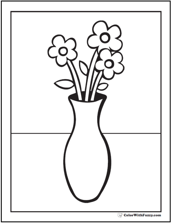 Preschool Flower And Vase Coloring