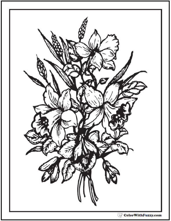 flower bouquet adult coloring page