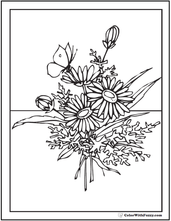 Butterfly And Wild Flower Bouquet Coloring Sheet Butterfly Wildflowers.  Spring Bouquet Of Flowers Coloring Picture