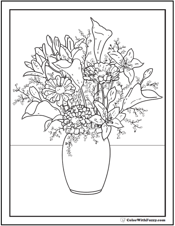 Lilies, Daisies, Zinnias Flower Coloring Book Pages