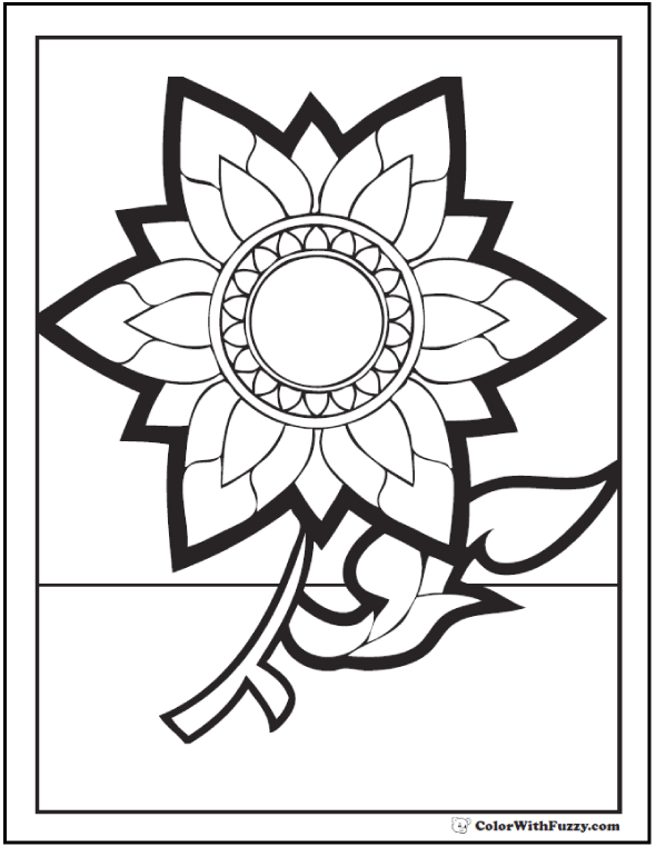 geometric sunflower fall flower coloring pages - Flower Printable Coloring Pages
