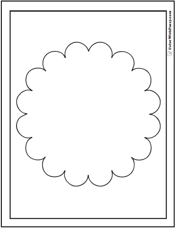 Flower Shape Outline Coloring