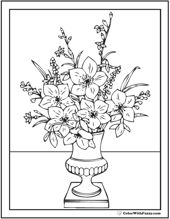 Elegant Greek Bouquet - Flower Vase Coloring Page