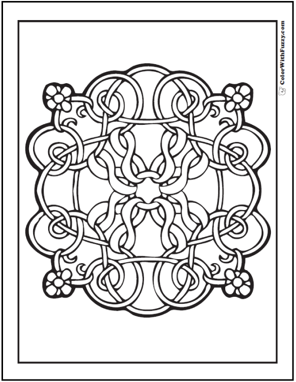 Fuzzy's flowers Celtic design coloring page has a sweet floral and ribbon theme.