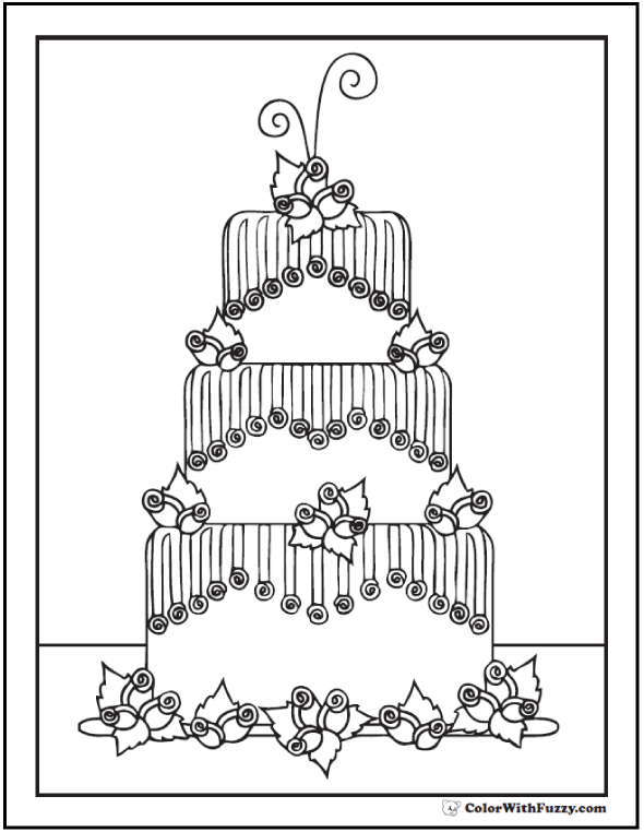 Fondant Cake With Roses Coloring Page